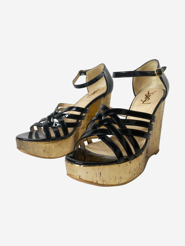 Black & gold wedge heeled sandals - size EU 38