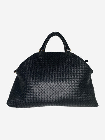 Black Intrecciato large woven leather tote bag