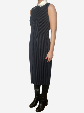 Navy & white pinstripe collared midi dress - size UK 10