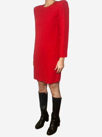 Red padded shoulder shift dress - size FR 38