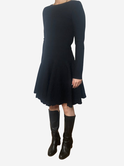 Black jacquard-knit circle dress - size FR 38