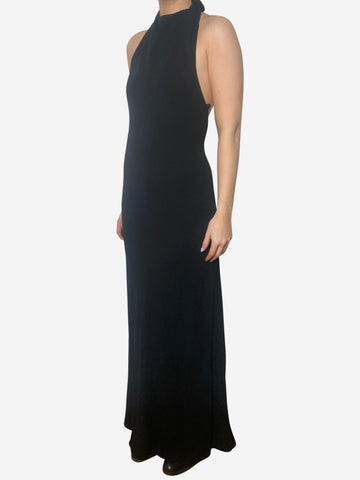 Kaila black halter-neck backless maxi dress - size M
