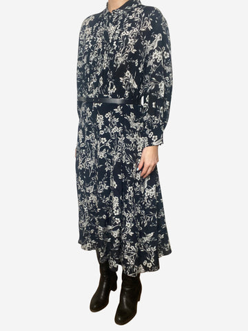 Navy & white floral belted midi dress - size UK 10