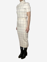 Load image into Gallery viewer, Cream, blue and burgundy grid check two piece - size S