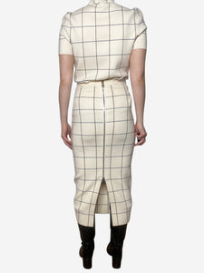 Victoria Beckham Cream, blue and burgundy grid check two piece - size S