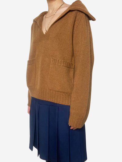Tan open collar cashmere sweater - size XS