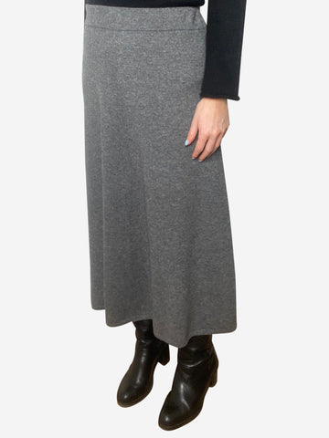 Grey a-line cashmere blend midi skirt - size M