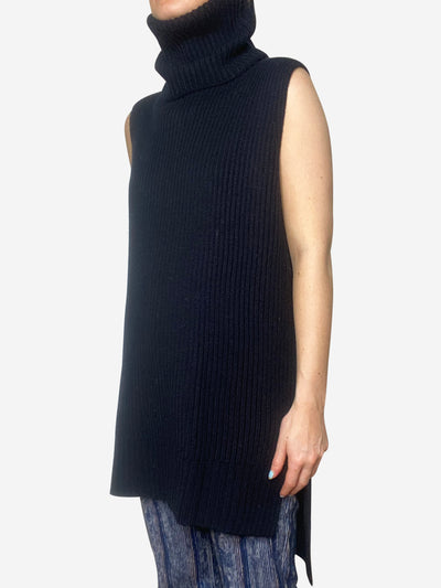 Navy wool sleeveless turtleneck - size M