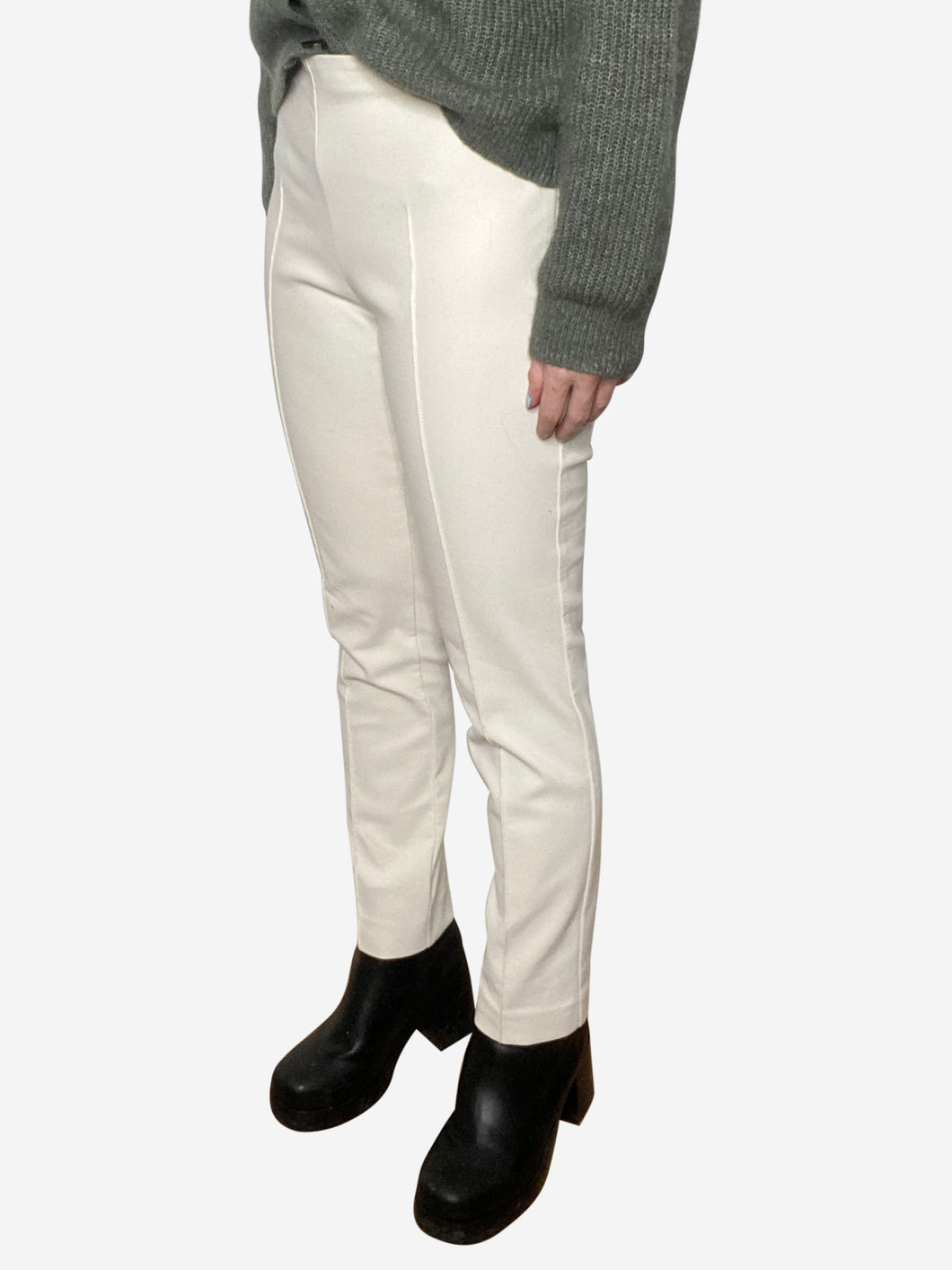 Cream straight leg trousers with front seam - size S