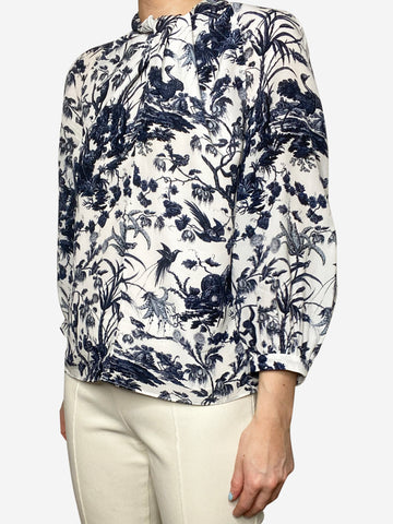 Arlette blue & white floral twist neck blouse - size UK 10