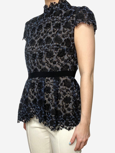 Pauletta blue & black lace peplum top - size UK 10