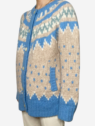 Blue fair isle chunky oversized cardigan - size M