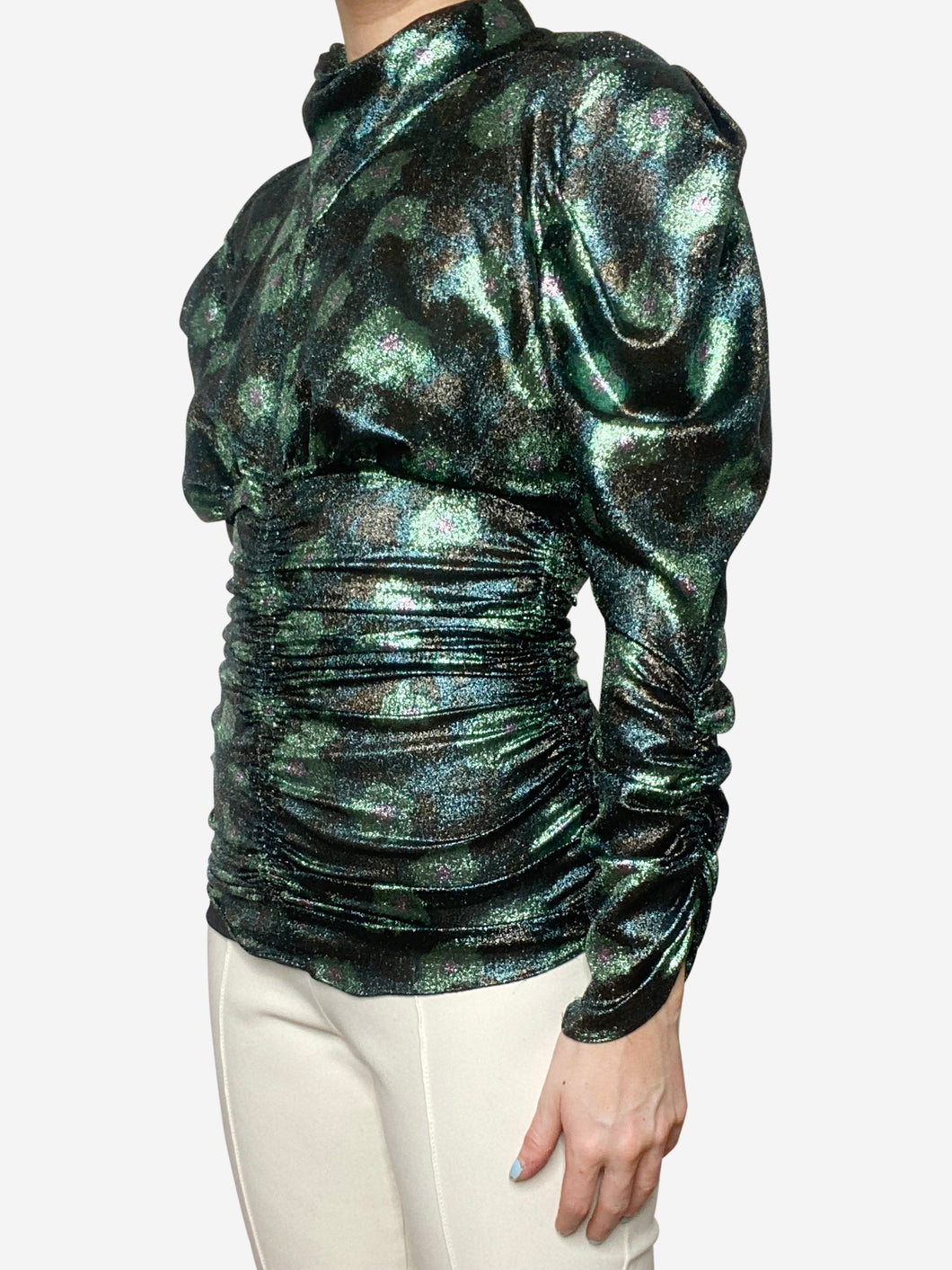 Green metallic ruched top - size FR 36