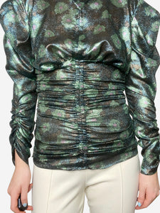 Isabel Marant Green metallic ruched top - size FR 36