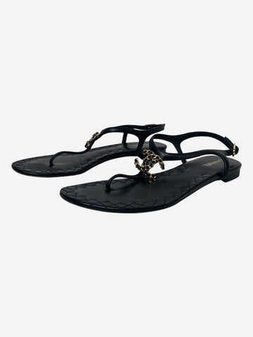 Black leather t-bar sandals with CC logo - size EU 37.5