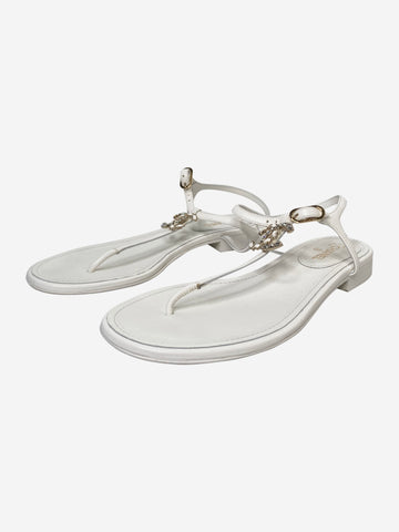 White leather t-bar sandals with CC logo - size EU 37.5
