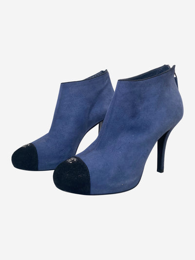 Blue & black suede heeled ankle boots - size EU 38.5