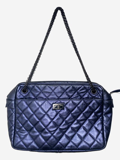 Metallic blue quilted calfskin large reissue camera case bag