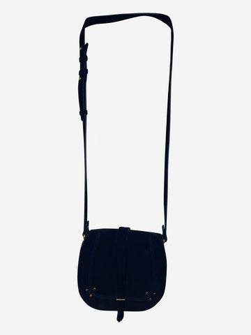 Navy suede saddle crossbody bag