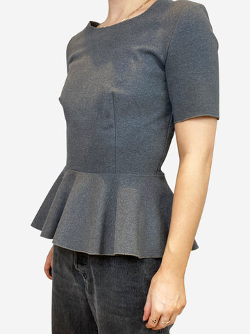 Grey short sleeve peplum top - size IT 40