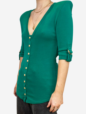 Green & gold button up top - size XS