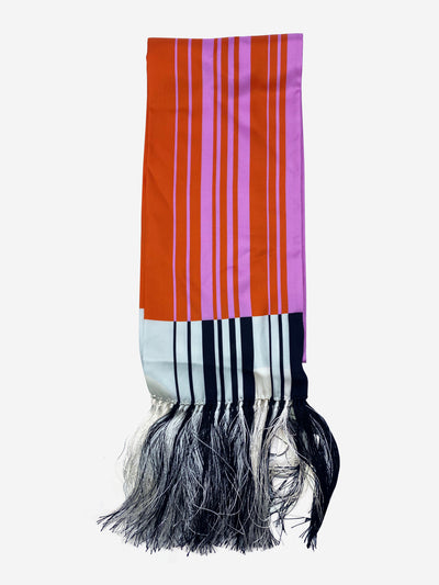 Pink & orange striped silk twill scarf