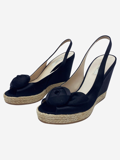 Black satin wedge espadrille heels - size EU 37