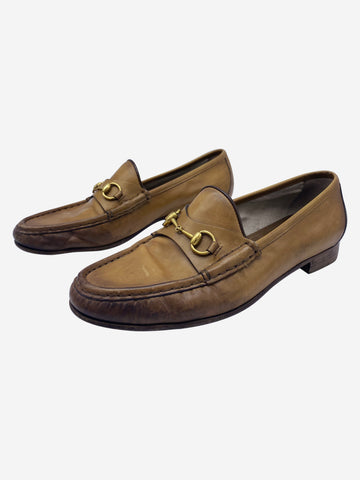 Tan horsebit loafers - size EU 39