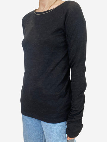 Charcoal long sleeve fine wool top with silver chain - size L