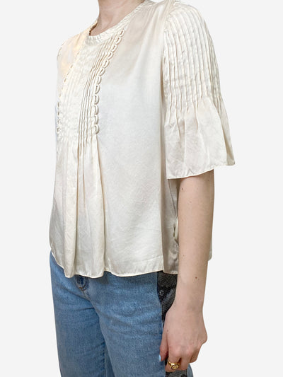 Cream ruffle front silk satin blouse - size FR 36