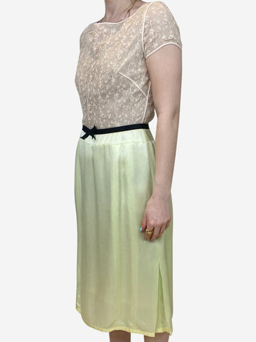 Green and beige lace top midi dress - size US 4