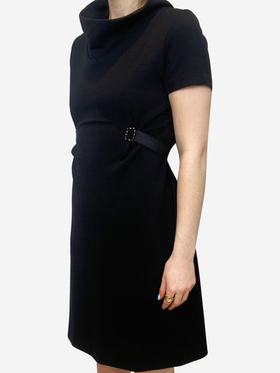Black dress with belt detail and cowl neck - size IT 42