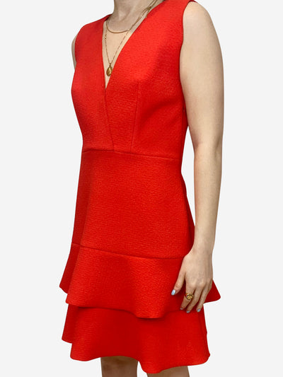 Red v-neck double ruffle dress - size M