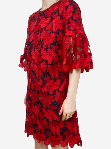 Nicola red  & navy lace overlay dress - size US 8