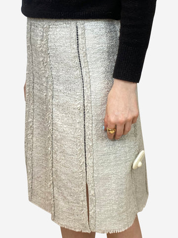 Grey tweed pencil skirt - size UK 4