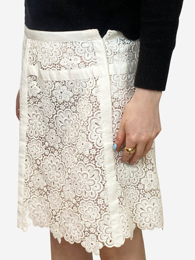 Cream floral lace skirt with white CC logo - size FR 40