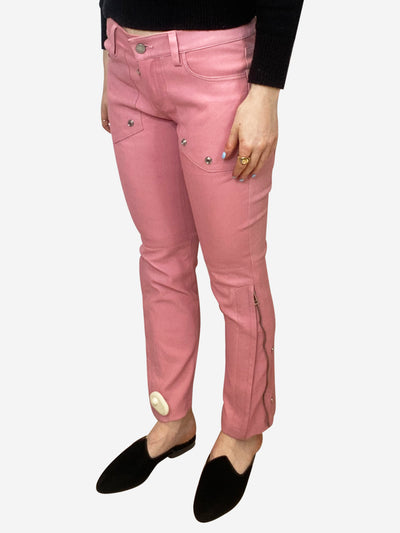 Pink leather trousers with silver stud and zip detailing - size FR 38