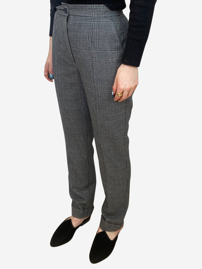 Grey houndstooth high waisted trousers - size IT 38