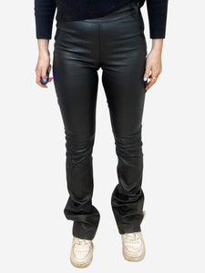 Reformation Black high waisted leather flares - waist 25