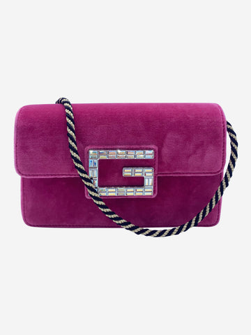 Broadway pink velvet crystal G shoulder bag