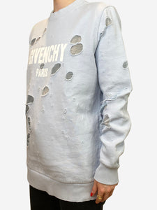 Givenchy Pale blue distressed logo sweatshirt - size XS