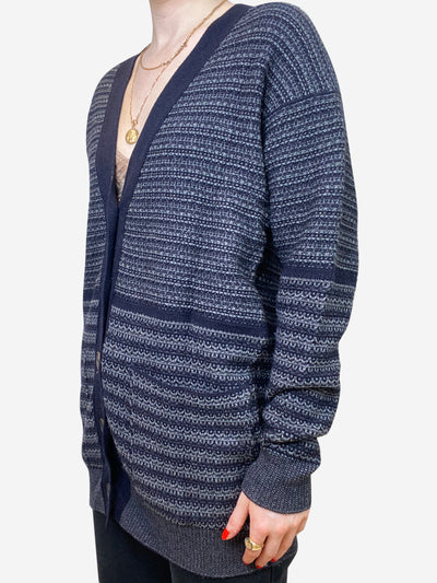 Grey & navy striped oversized cardigan - size FR 36