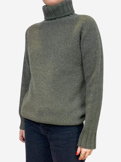 Khaki green roll neck sweater - size S