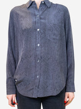 Load image into Gallery viewer, Charcoal snake print silk shirt - size XS
