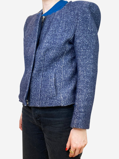 Blue puff sleeve tweed jacket - size S