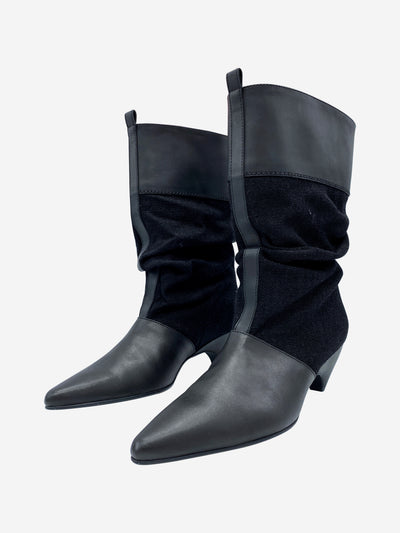 Black pointed fabric and leather knee length boots - size 5