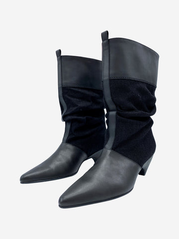 Black fabric and leather insert pointed toe heeled boots- size EU 38