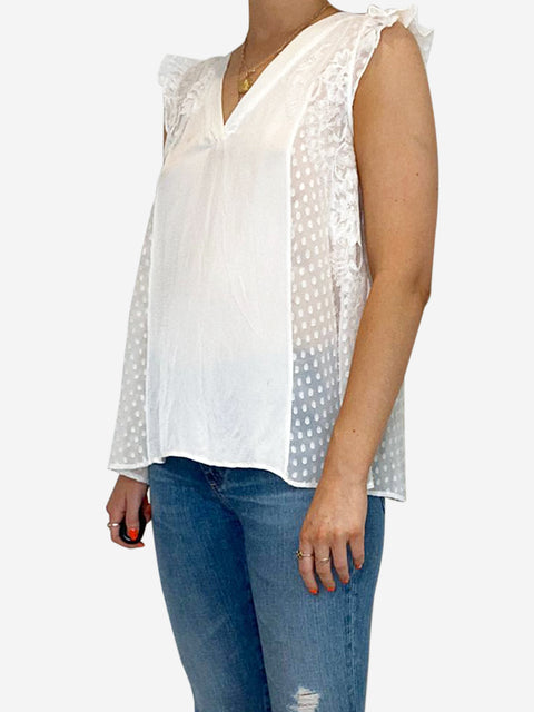 White sleeveless frill blouse with polka dots - size 8