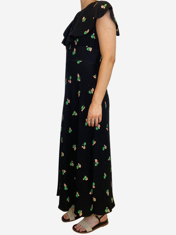 Black and green floral print frill neck key hole midi dress - size FR 40