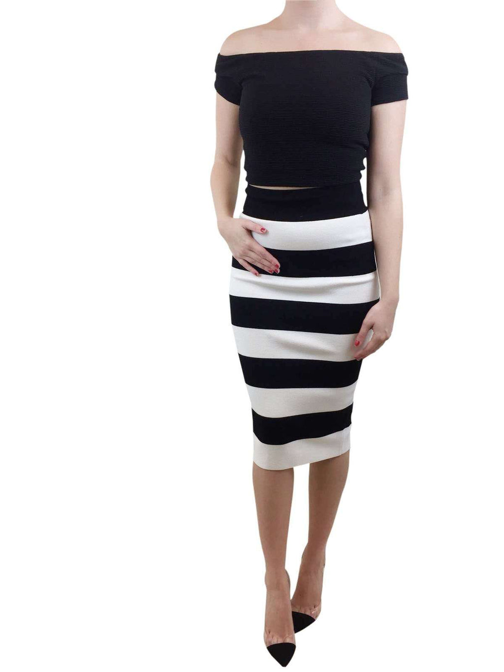 Milly Black And White Midi Skirt Small RRP £200